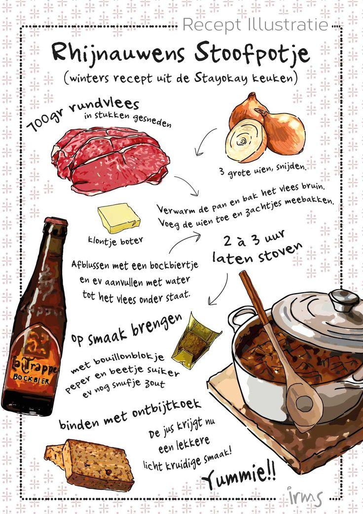 rhijnauwens-stoofpotje-stayokay. Mijn geillustreerde recepten zijn ook te vinden in de Amelisweerd agenda. Dit is het recept uit de Stay Okay keuken, het Rhijnauwens stoofpotje. Heerlijk, kijk voor het recept op mijn blog!