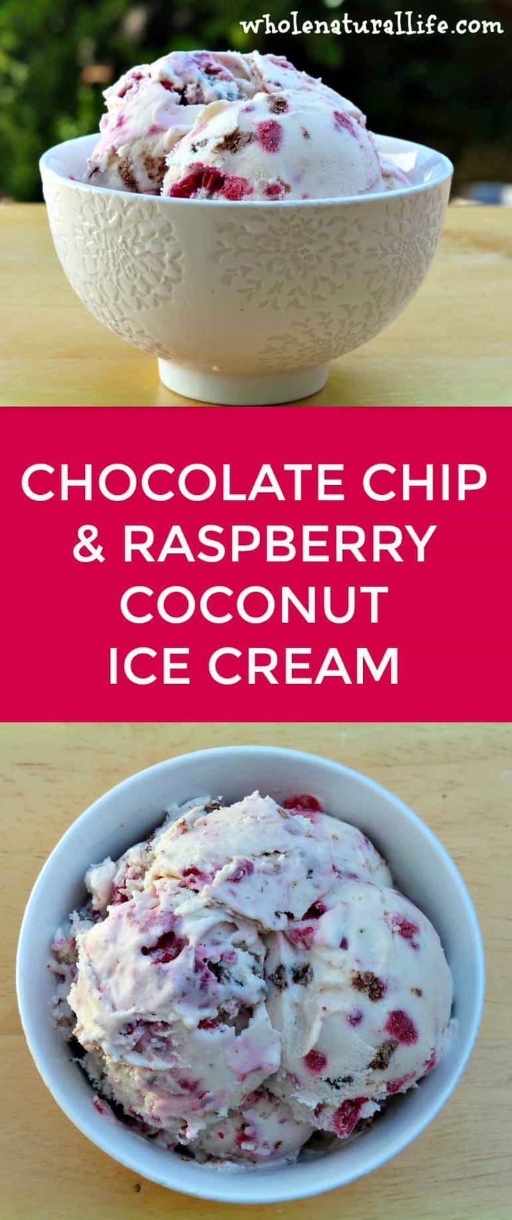 This chocolate chip and raspberry coconut ice cream is dairy-free, easy to make, and so delicious! Suitable for the GAPS and Paleo diets, too.