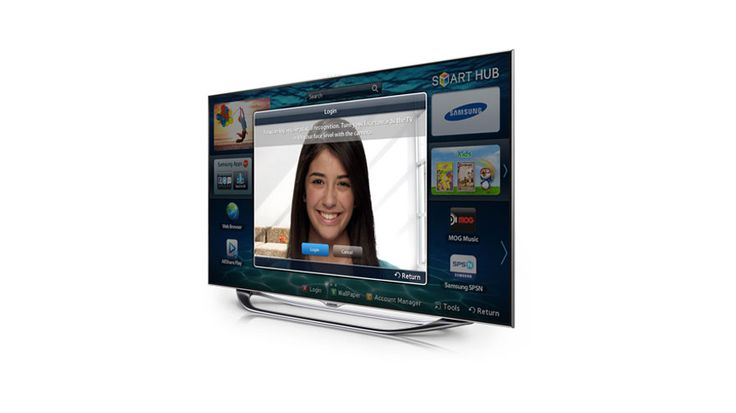 This Samsung HDTV includes a 55-inch flat-panel screen that is housed in an ultra-slim bezel case with a trendy curved flow stand.