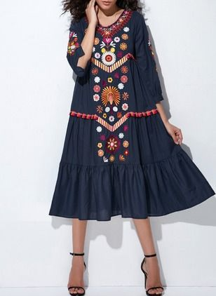 Cotton Floral 1039536/1039536 Sleeves Mid-Calf Casual Dresses (1039536) @ floryday.com