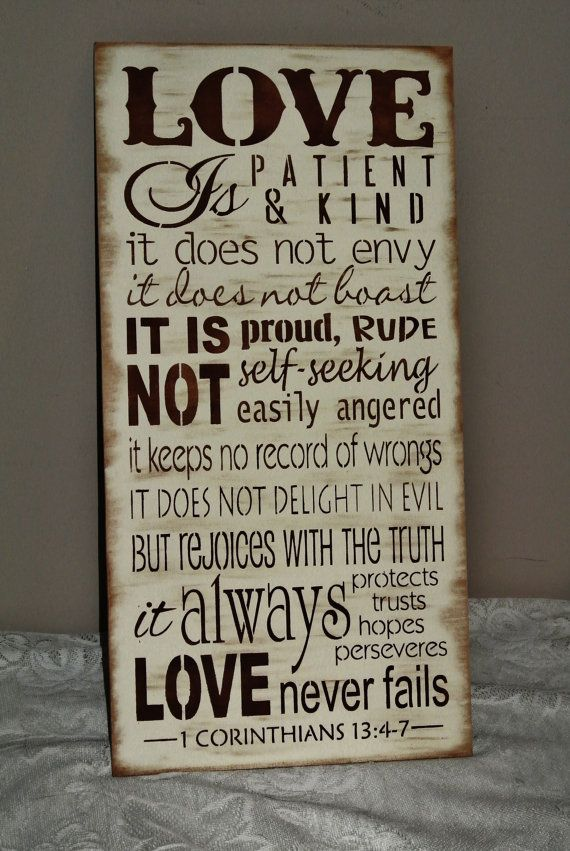 Love is patient love is kind corinthians bible verse, wood sign, wedding sign, gift, christian any colors custom gift bride groom rustic