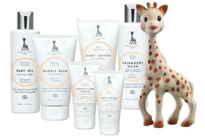 We are in love with the new natural/organic Sophie la Girafe bath and baby products.