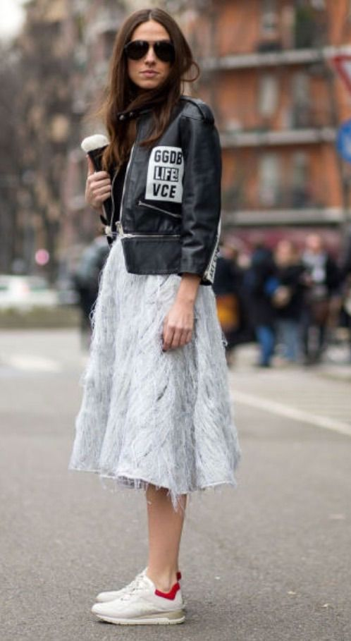 Street Style Milan Fashion Week Fall Winter 2016 2016 Skirts Style And White Sneakers