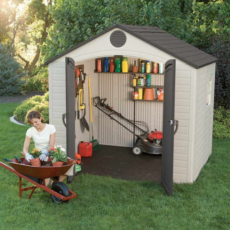 Lifetime Products 6418 Outdoor Storage Shed 8 X 5 Ft. This Picture Shows A  Tool Shed With The Door Open And Tools Inside.