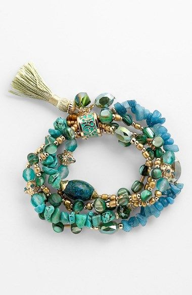 Sara Bella Bead Stretch Bracelet | Nordstrom - love the combo