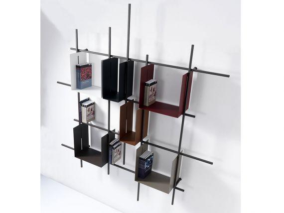 LIBRA 2 METALLO Libreria con struttura in acciaio e contenitori in metallo