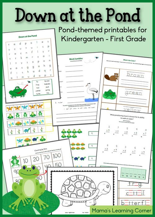 17-page Down at the Pond - Printable Packet for Kindergarten-First Grade - Mamas Learning Corner