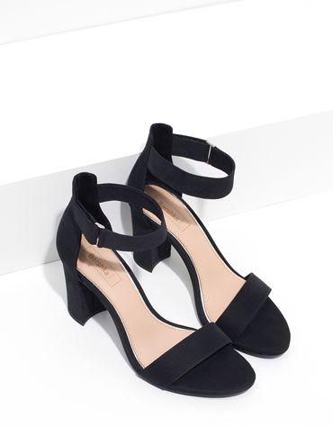Bershka Strappy block heel sandal in adaBChNJ