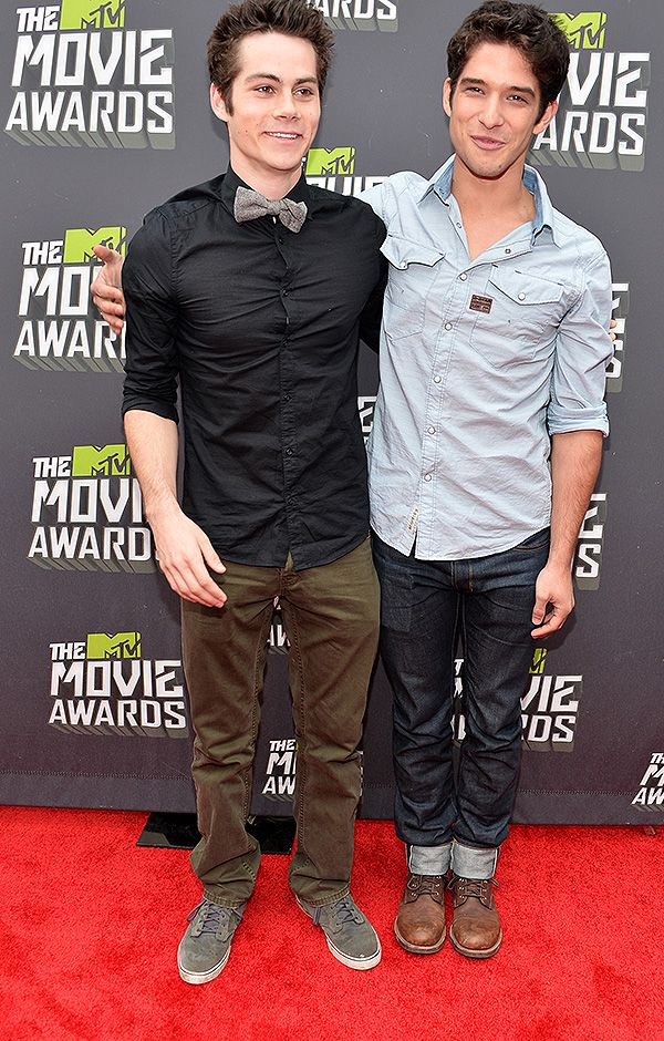 Dylan OBrien and Tyler Posey of MTVs Teen Wolf on the red carpet at the 2013 Movie Awards.