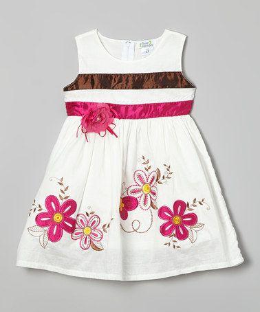 Look at this #zulilyfind! White Butterfly Flower Dress - Toddler & Girls by Littoe Potatoes #zulilyfinds