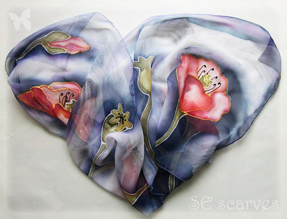 Hand painted scarf. Chiffon scarf. Poppies / Poppy fower by SEscarves