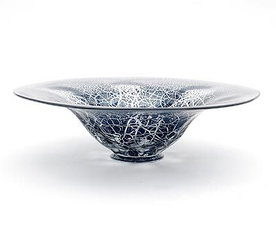 Botterweg Auctions Amsterdam > Clear glass Unica bowl(B 28) with black antimony crackle on applied clear glass stand, design A.D.Copier 1927, executed by Glasfabriek Leerdam / the Netherlands