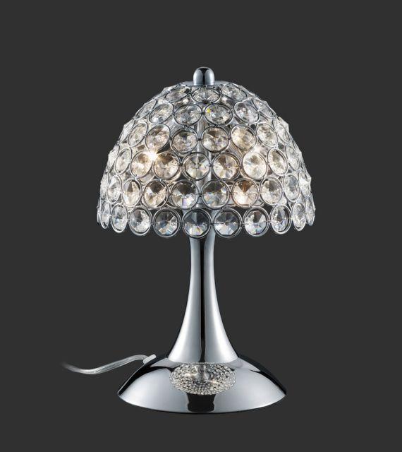 BRUSSELS Trio - stolná lampa - chróm+krištáľové sklo - 280mm