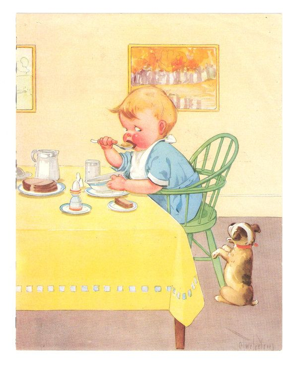 Vintage Health Poster - Charles Twelvetrees - Childrens Illustration - Boy Eating Puppy Begging - Good Health Habits