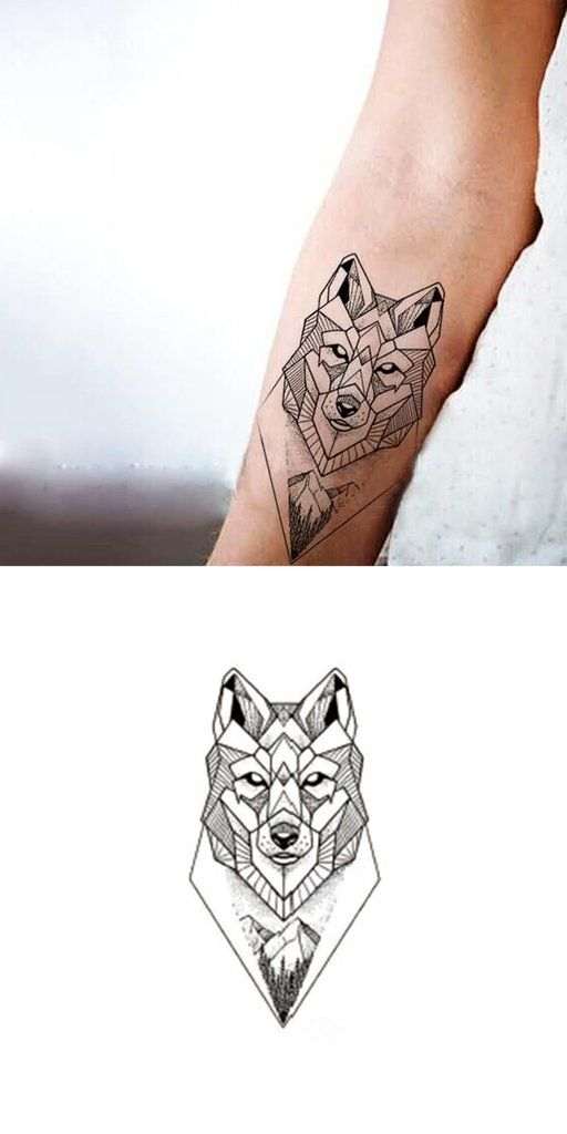 Sanaer Geometric Wild Wolf Nature Animal Temporary Tattoo Draw