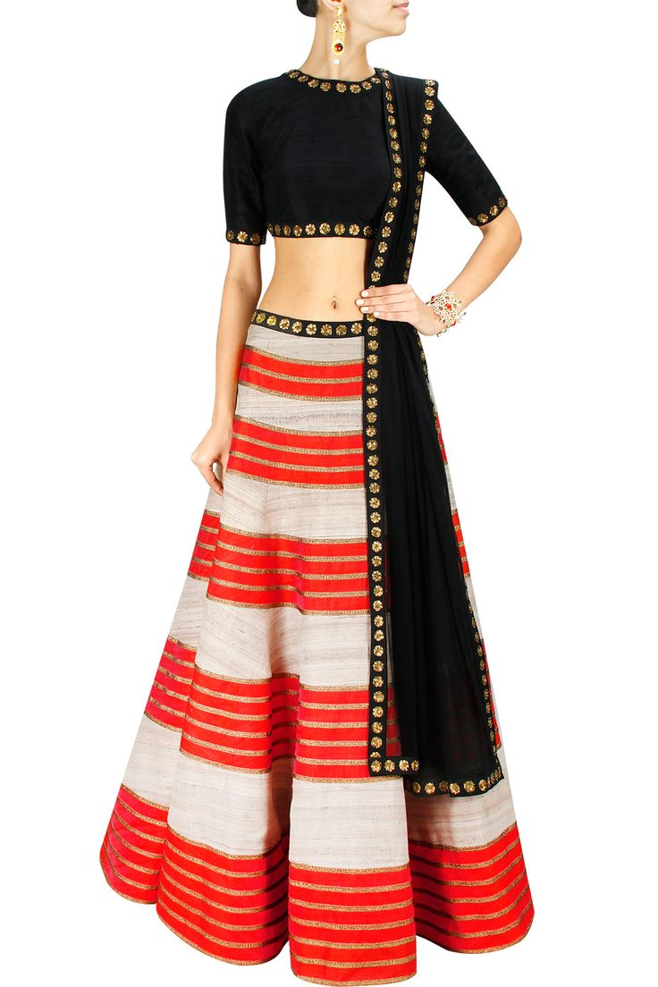 Orange and beige embellished lehenga with black blouse and dupatta BY PRIYAL PRAKASH. Shop now at: www.perniaspopups.
