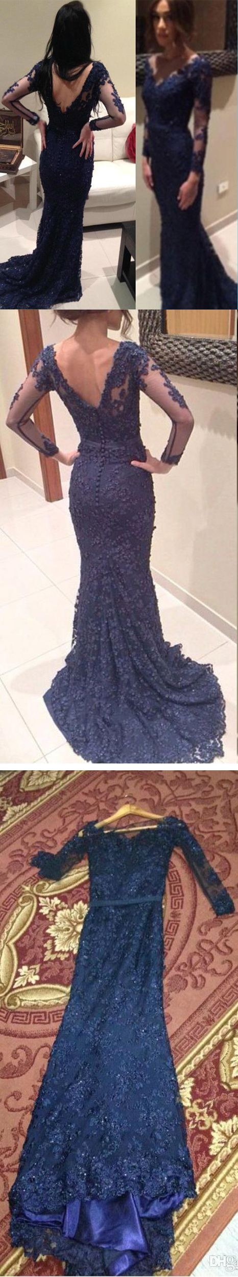 Illusion Navy Mermaid V Neck Long Sleeve Long Prom Dress With Embroidery #prom #evening #dress
