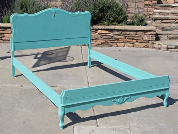 Vintage Chic Double Full  Bed Headboard and Foot board and Siderails Lady Blue By Foo Foo La La. $450.00, via Etsy.