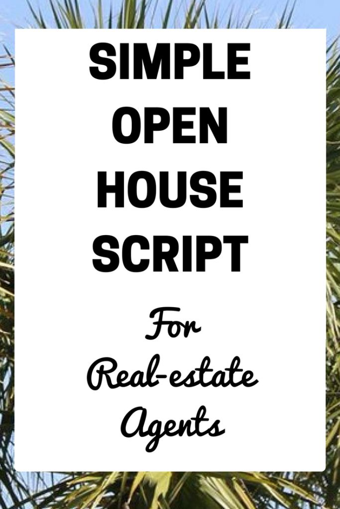 Open House Script For Real-Estate Agents