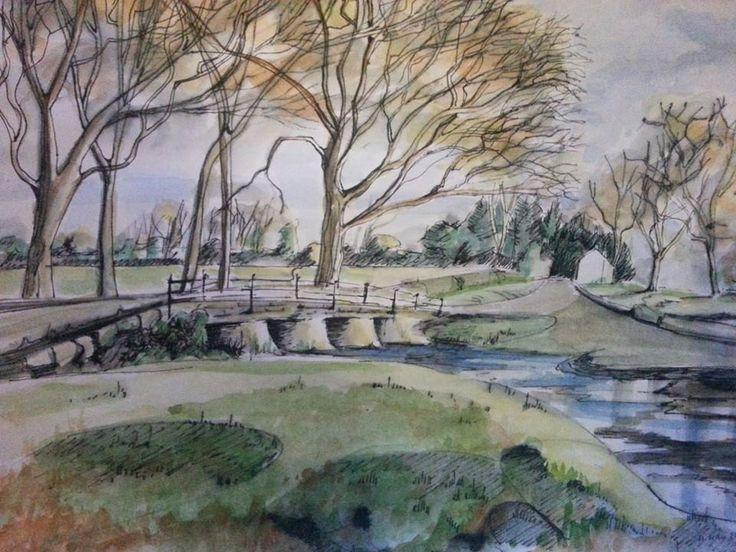 Pen and wash #painting of Bradford #Bridge in Saturday's beautiful sunshine. #art #landscape #drawing