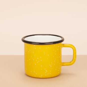 You can't beat a good bit of enamelware, durable, stylish, classic and timeless. A bright mustard yellow mug with delicate white speckles.