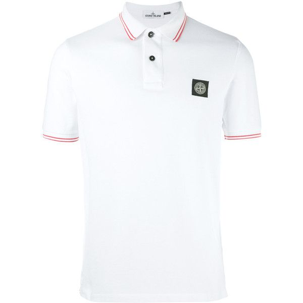 Stone Island logo polo shirt ($135) ❤ liked on Polyvore featuring men's fashion, men's clothing, men's shirts, men's polos, white, mens white polo shirt, mens white shirts and mens polo shirts