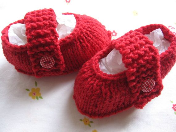 Mary Jane Booties / Shoes. Handknit. Chilli Red with by NoahandNoo, $16.00