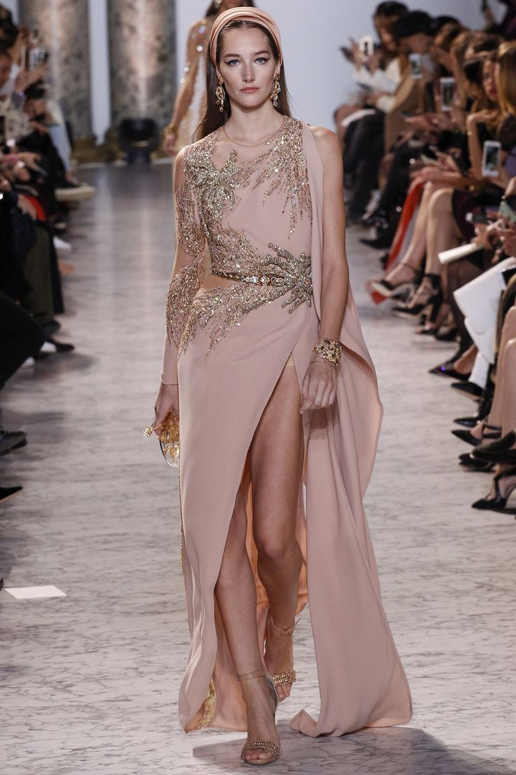Elie Saab Spring 2017 Couture: Elegant and glamorous! Beautiful blush pink one shoulder gown with gold embellishments!