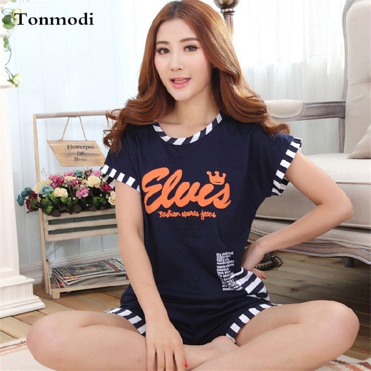 Short-sleeved Pajamas For Women Summer Pyjamas Shorts Cotton Letter pijamas mujer Plus Size 3XL Ladies pajama Set Women