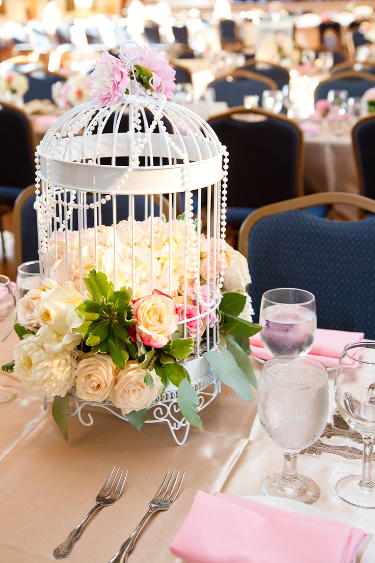 Wedding centerpiece vintage birdcage pearl blush