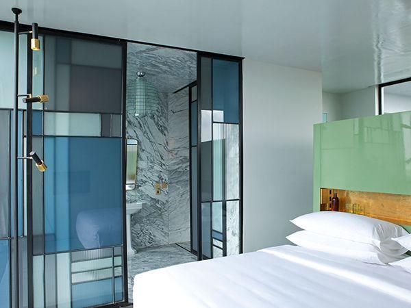 Casa+Fayette-bath-Studio+Dimore love the glass doors!