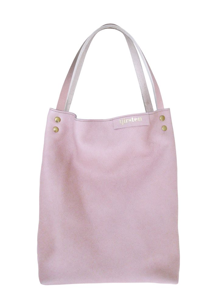 Leather tote bag shopper pink by Tjirsten