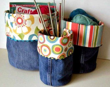 Recycle jeans into Denim Bins. pretty and cool way to recycle those old jeans! Great squidoo page with lots of other denim recycling ideas.