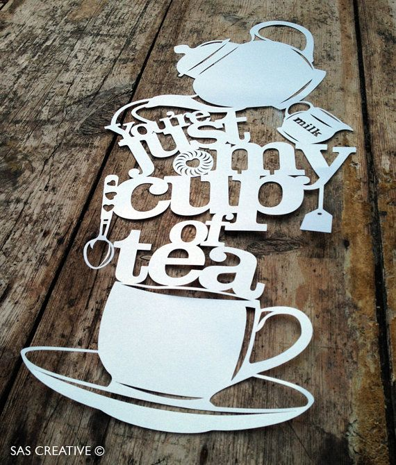 Papercut Template PDF 'You're Just My Cup of Tea' Printable Cut Your Own…