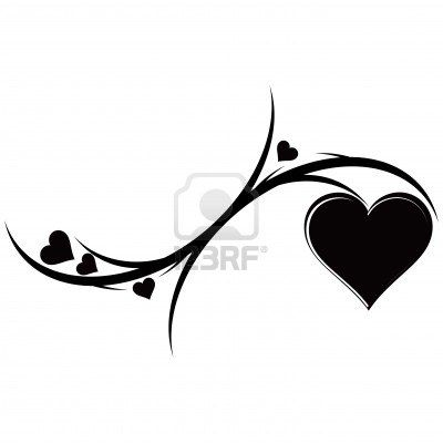 The decorative ornament with hearts. Tattoo. Vector illustration.