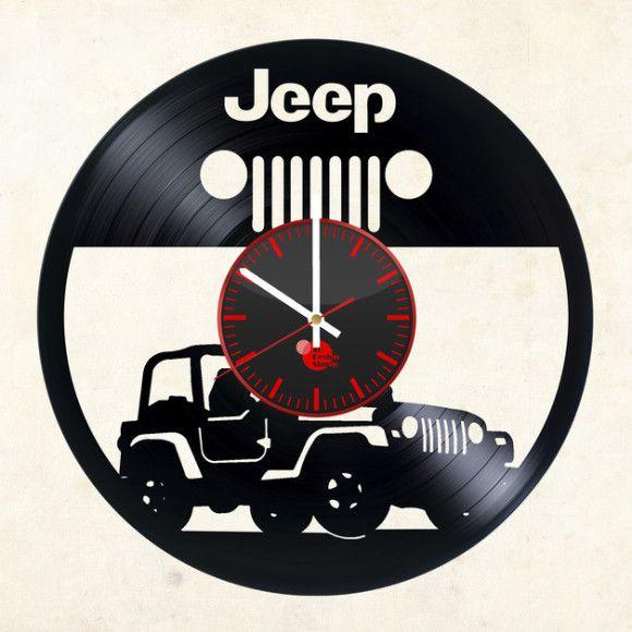 Jeep Auto Handmade Vinyl Record Wall Clock Fan Car Design - VINYL CLOCKS