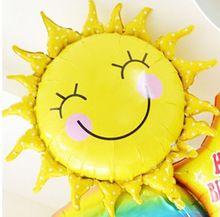 New 60 * 60 cm Roztomilý úsměv tvář Sunflower Balloon miminko Gold Fóliový balónek strana / narozeniny / svatební dekorace Doprava zdarma (Čína (pevninská část))