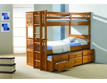 Twin/Twin Mission Captain's Trundle Bunk Bed Honey