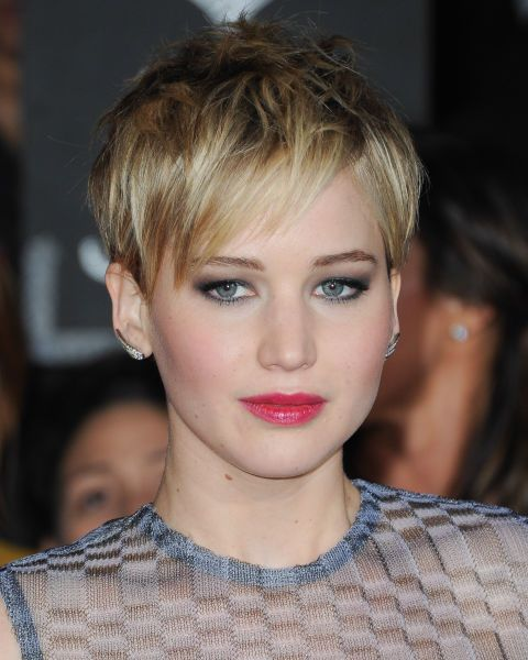 The cool girl's pixie crop, keep things messy and textured a la Jennifer Lawrence for hair that looks epic everyday without doing a thing.