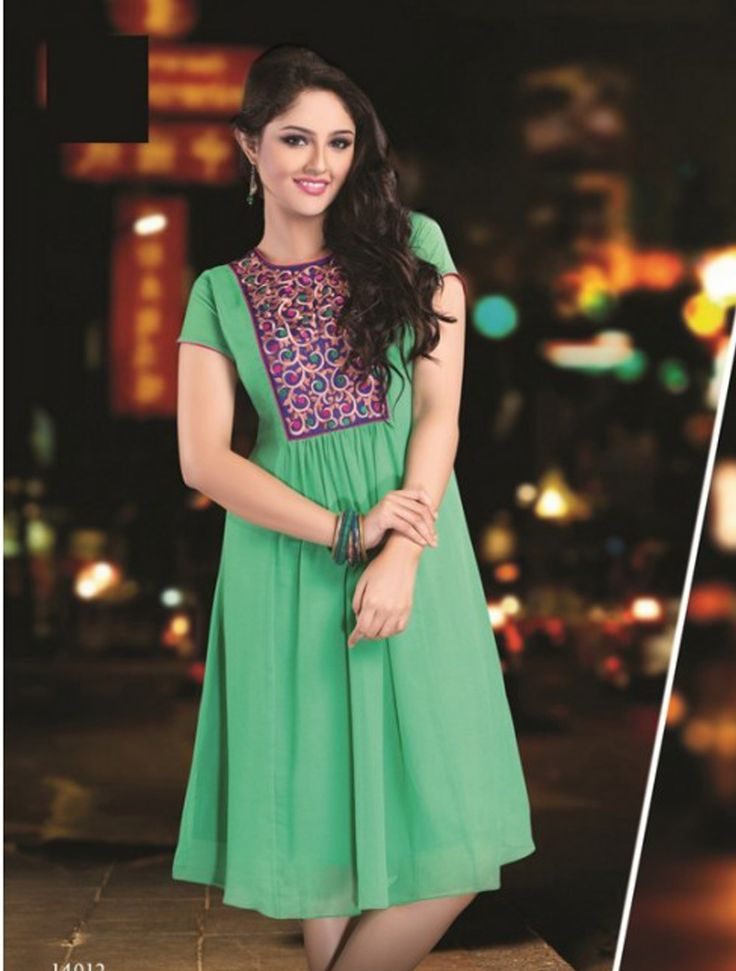 Aquamarine Green Georgette Kurti