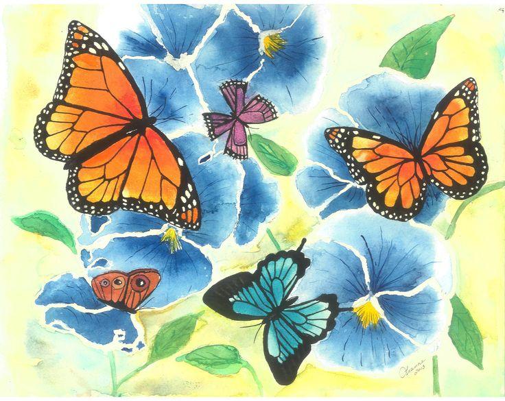 "New Wall Art ""Butterflies and Blue Pansies"" by LeannesArtStudio on Etsy"