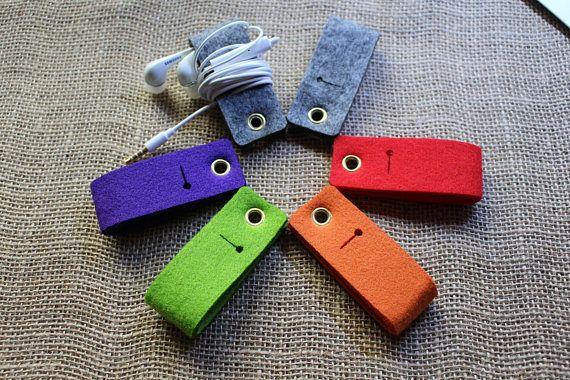 Cool  Gadget Multifunction Felt Key Chain Fob Earphone cable