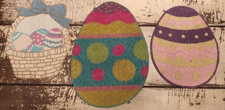 Easter Egg Basket Beaded Placemats Lot/Egg