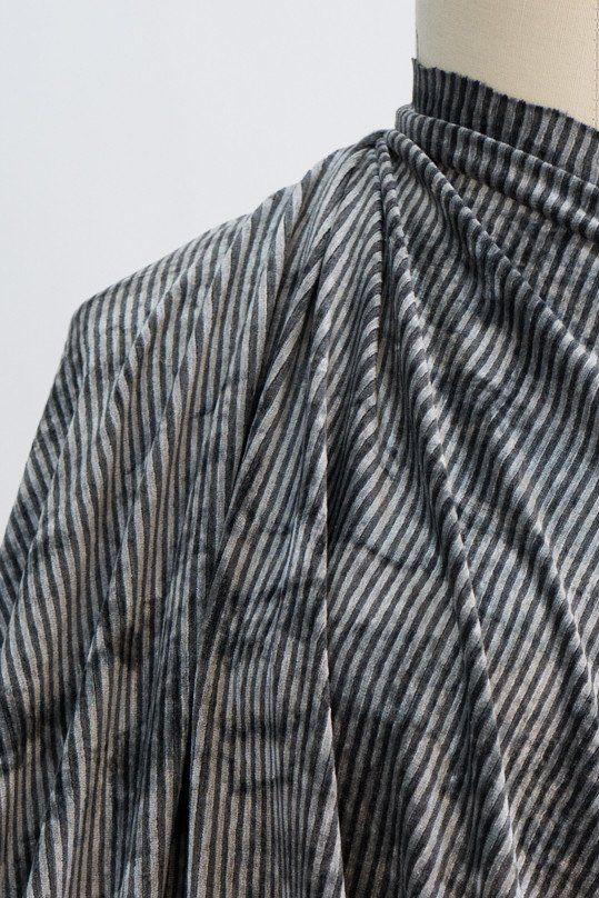 Gray Glow Stripe Velours Knit