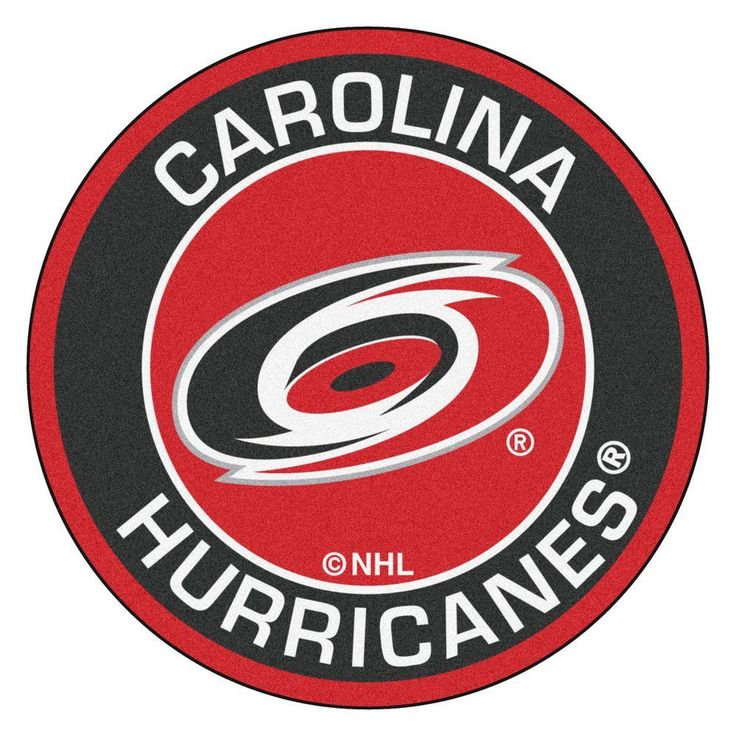 NHL Carolina Hurricanes Black 2 ft. 3 in. x 2 ft. 3 in. Round Accent Rug