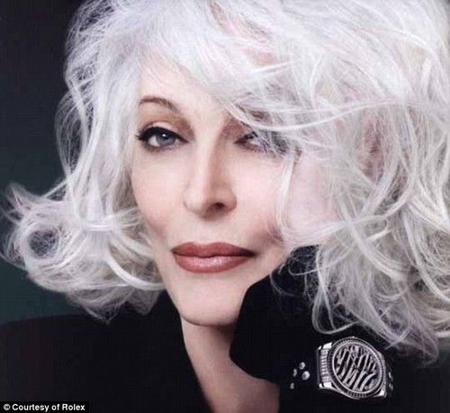 Sultry, sexy Carmen Dell Orefice with her 'grey' hair trademark
