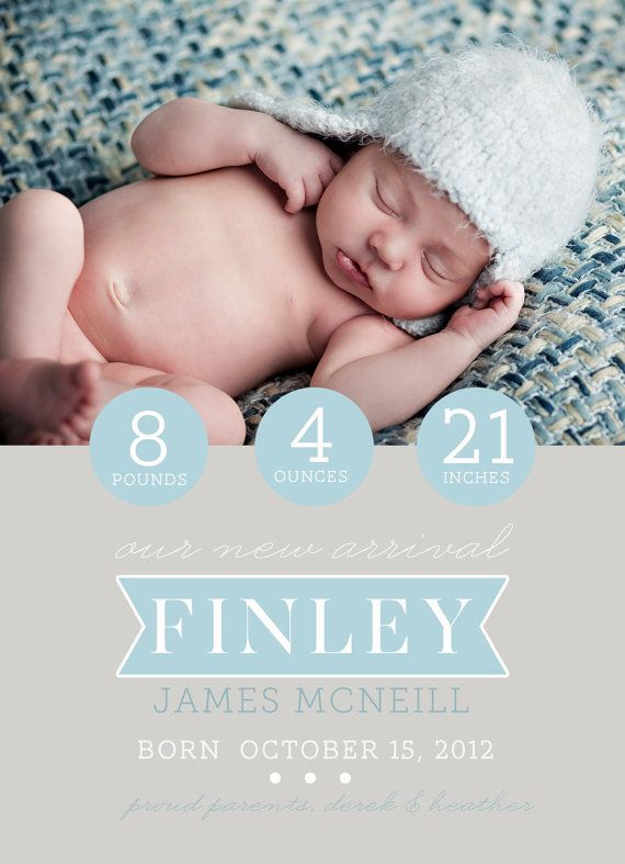 Birth Announcement photoshop card template - Simple Circles on Etsy, $8.00