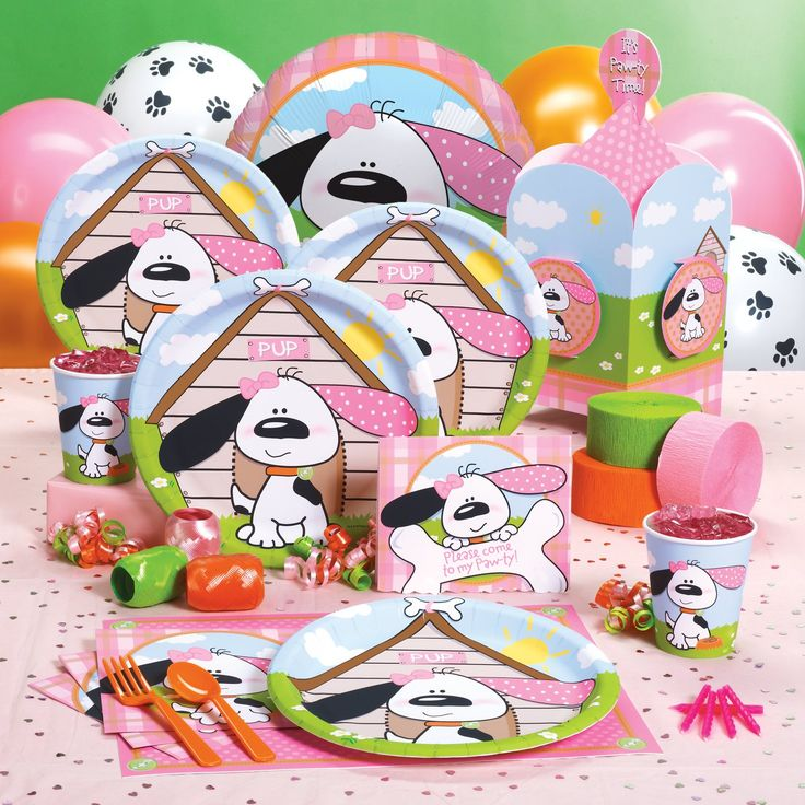 Playful Puppy Pink Party Supplies..Loves this stuff too... choosing party supplies for a little girl is HARD!