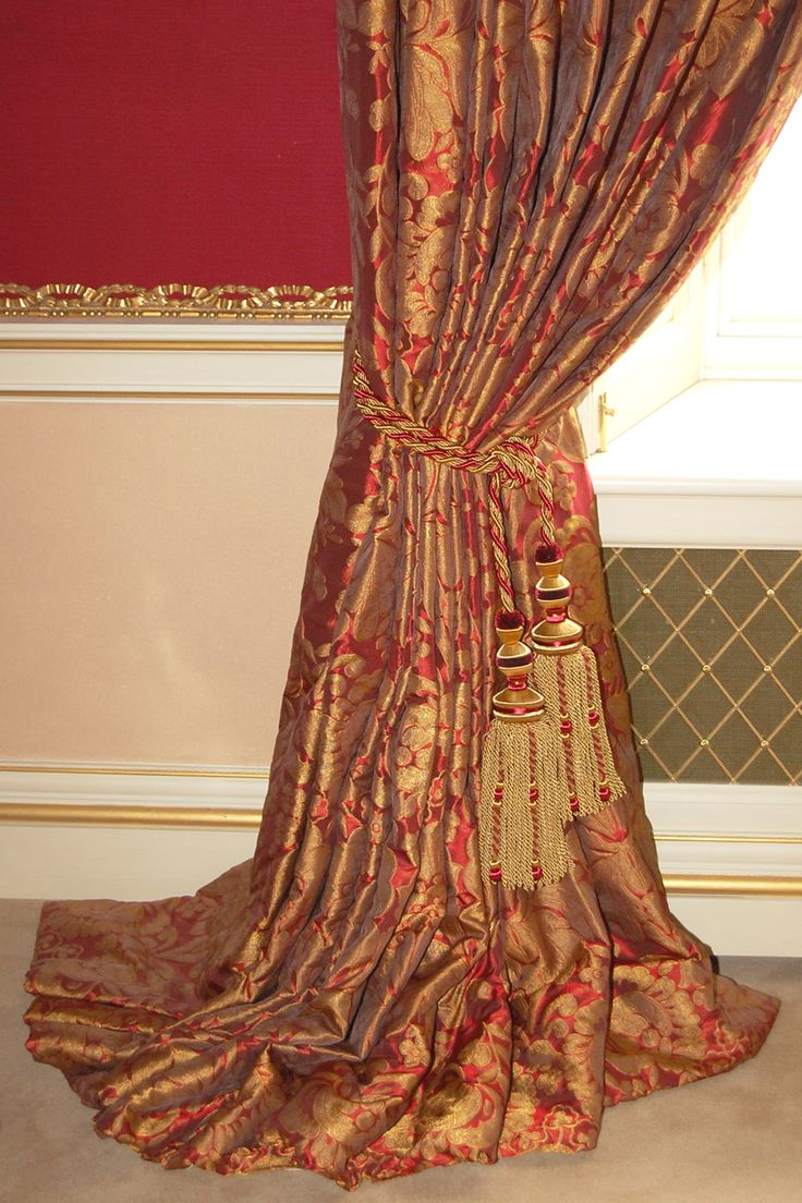 Gold curtains living room - Gold Curtain Opulent Red And Gold Curtains 12 On The Floor With Double Tassel