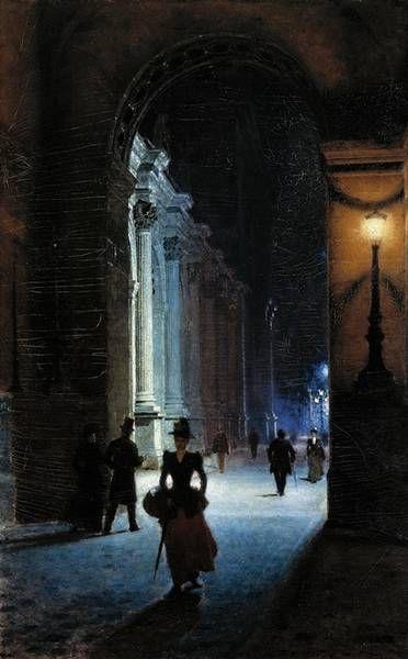 Louvre at night, 1892 -  Aleksander Gierymski (Polish, 1851-1901)